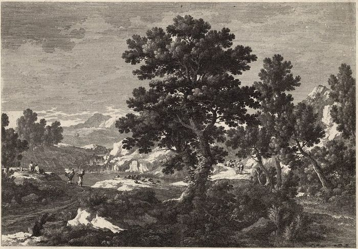 Nicolas, Gabriel or Adam Perelle, 1650-1695. - Mountain river landscape with tree in the middle and travellers. Large folio engraving.