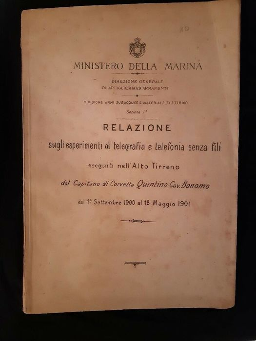 Italy - Navy - Document, Marconi Telegraph Experiments Report