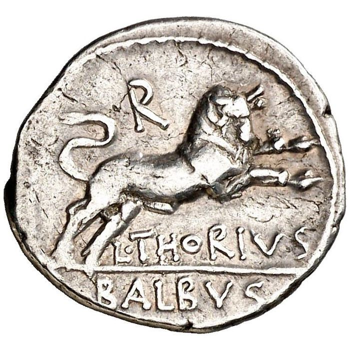 Roman Republic - Denarius - L. Thorius Balbus. North of Italy mint. 105 B.C. L. THORIVS / BALBVS. Bull  - Silver