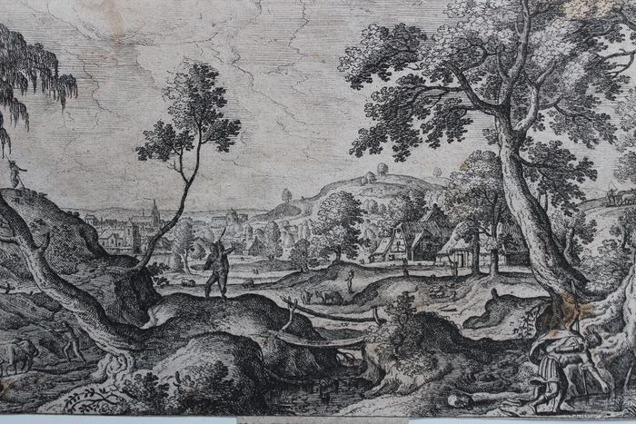 Hans Bol (1534-1593), after. Engraved by Philips Galle. - Narcissus in a Brueghel landscape. Original.