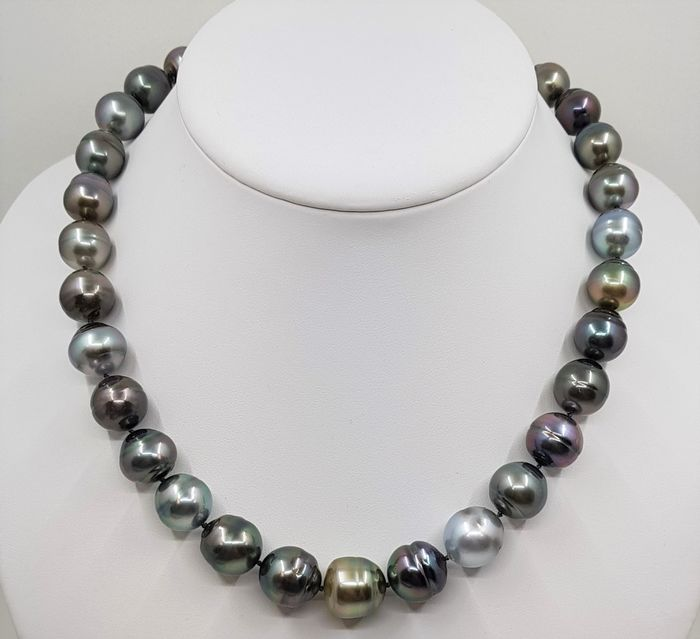 United Pearl - No Reserve Price - 18 kt. Yellow Gold - 12x14.5mm Shimmering Multi Tahitian Pearls - Necklace