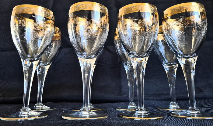 Murano ' Medici ' - Elegant Red Wine Glasses (8) - Crystal with 24KT Gold Decoration
