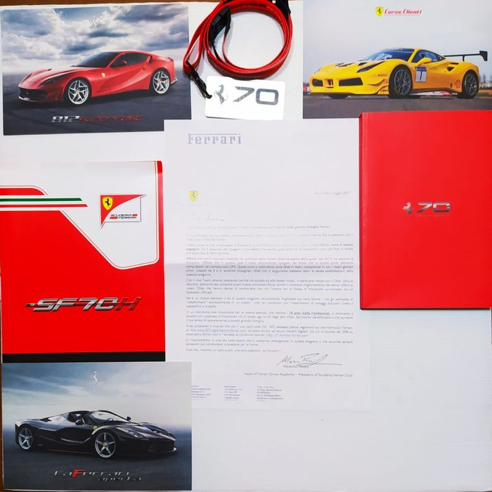 Book plate + + strap + card - 70 anniversario 1947-2017 raro - Ferrari - After 2000