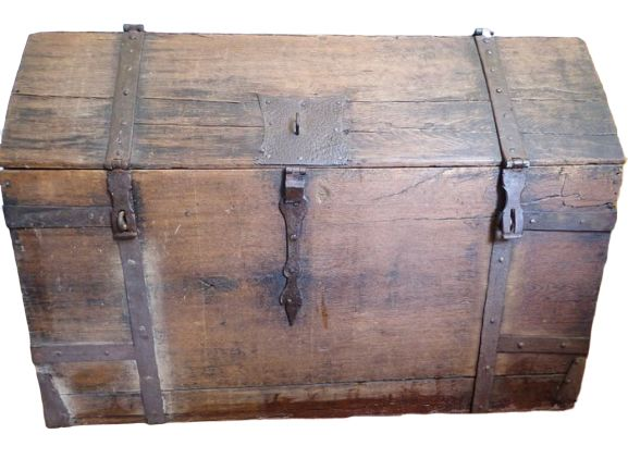 Chest, blanket chest - Iron (wrought), Oak - Early 18th century