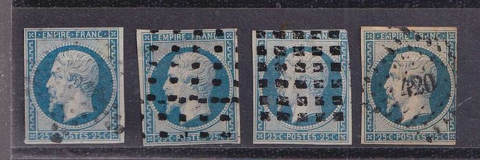 França 1853 - 4 variations of the 25 centimes Empire, imperforate. - Yvert 15 x4