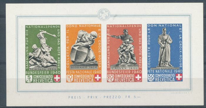 Switzerland 1940 - Pro Patria block - sbk 5