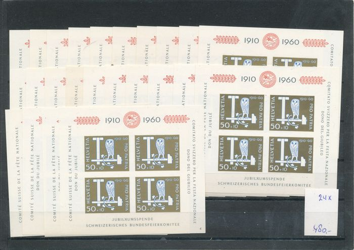 Switzerland 1959/1990 - 17 large stock cards with block issues.