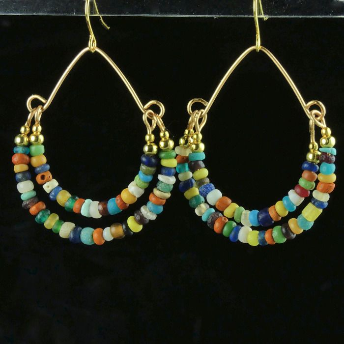 Ancient Roman Glass Earrings with multicolour glass and shell beads - (1)