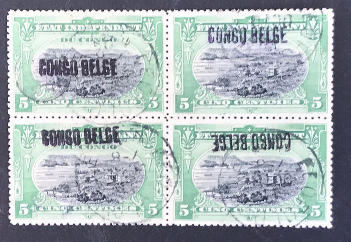 "Belgian Congo 1909/1915 - Issue Mols 5 centimes in block of 4 with overprint ""Curiositeit"" - OBP / COB"