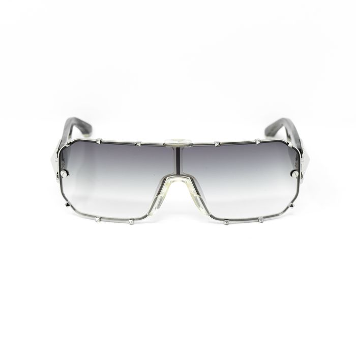 """Giles Deacon - Shield Black Horn Silver With Category 3 Grey Graduated Lenses 9GILES1C2BLACK """"NO RESERVE PRICE"""" Sunglasses"""