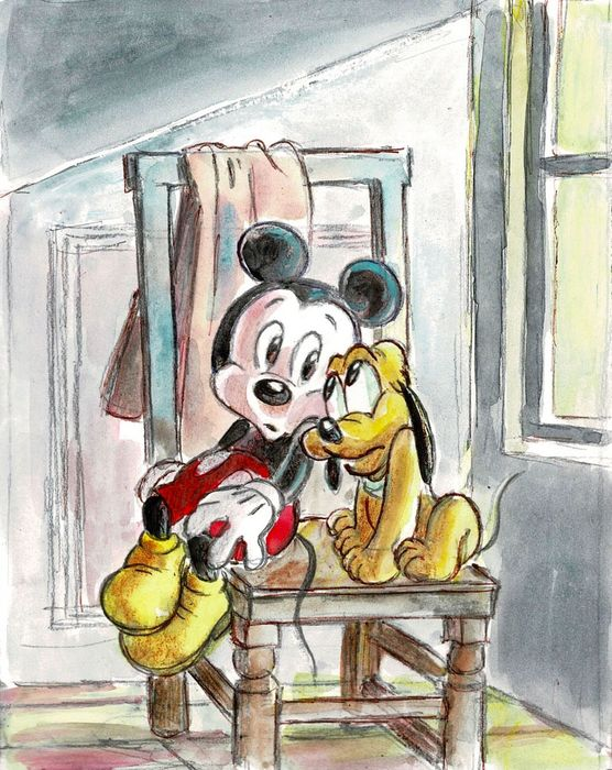 Retro Mickey & Pluto #StayAtHome - Original Painting - Tony Fernandez - Original Art