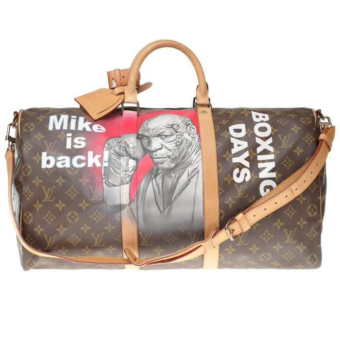 Louis Vuitton - Customized Keepall 50 strap Monogram  Mike Tyson Vs MickeyI' #64 by PatBo Weekend tas