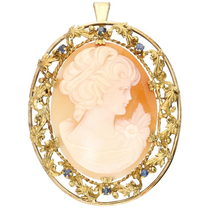 14 kt. Gold - Brooch, Pendant Cameo - Sapphire