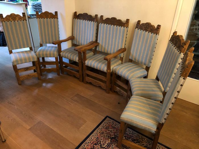 Seating group, comprising: two armchairs and 4 side chairs (7) - Oak - Early 20th century