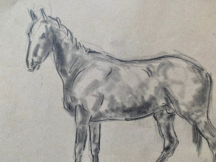 Ary Bitter (French, 1883-1973) - 2 x pencil drawings of standing horses