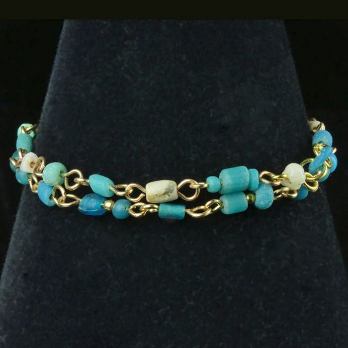 Ancient Roman Glass Bracelet with turquoise glass and shell beads - (1)
