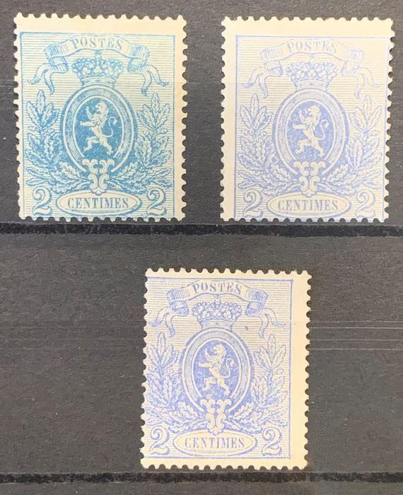Belgium 1866/1867 - Small lion - 2c perforated - In three different nuances - OBP / COB 24A-Ab