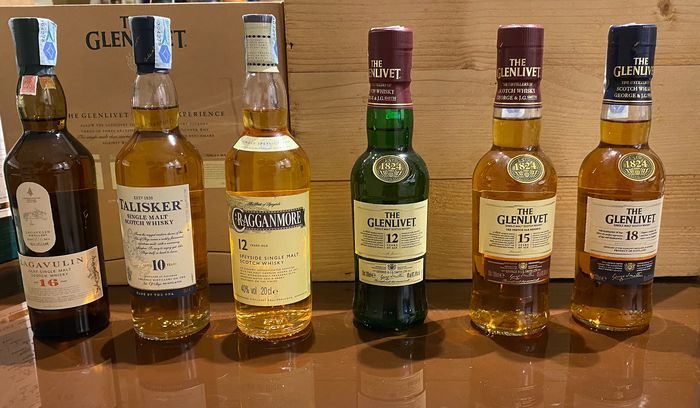 Lagavulin,  Lagavulin 16 years - Talisker 10 years - Cragganmore 12 years - Glenlivet 12 - 15 - 18 years old - Original bottling - 20cl - 6 bottles