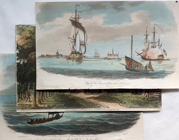3 prints - Joyce Gold (19th century) - Castle on the Gold coast of Africa - hand-coloured
