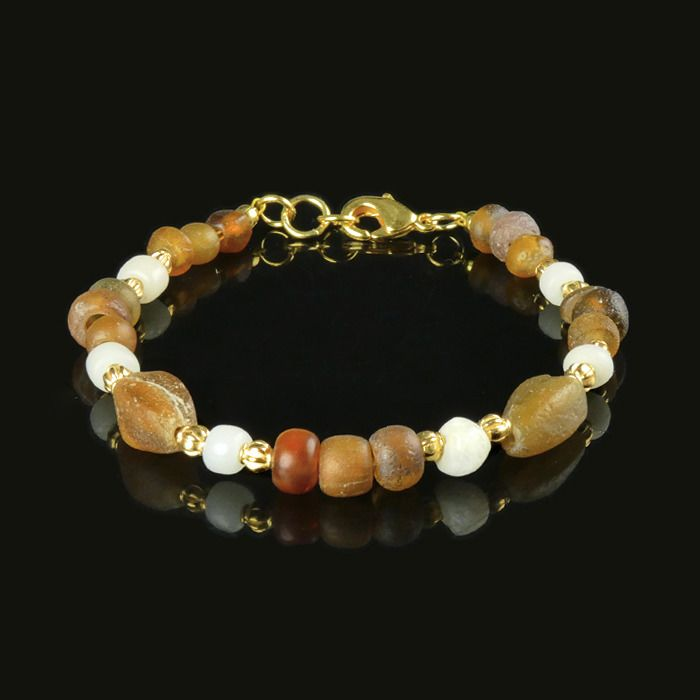 Ancient Roman Glass Bracelet with amber and white glass beads - (1)