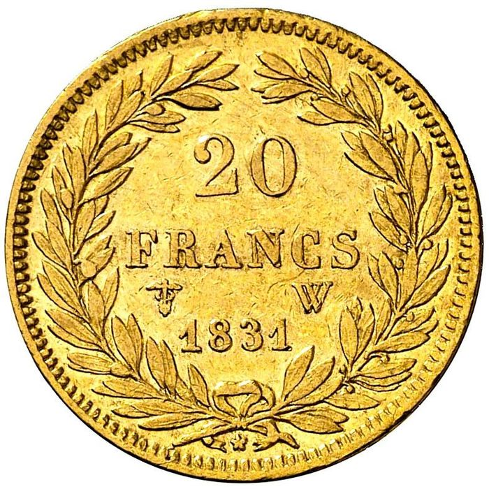 France - Louis Philippe I - 20 Francs 1831-W (Lille) - Gold