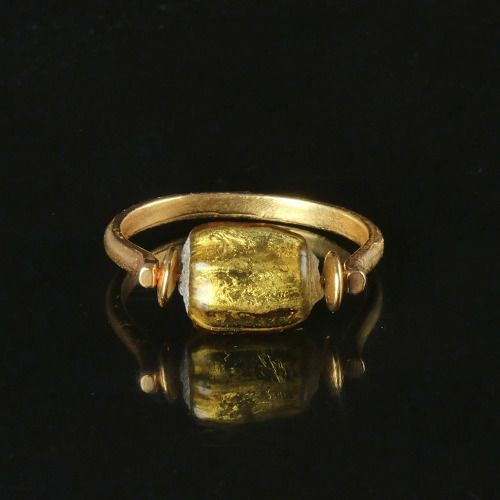Ancient Roman Glass Ring with gold foil glass bead - (1)