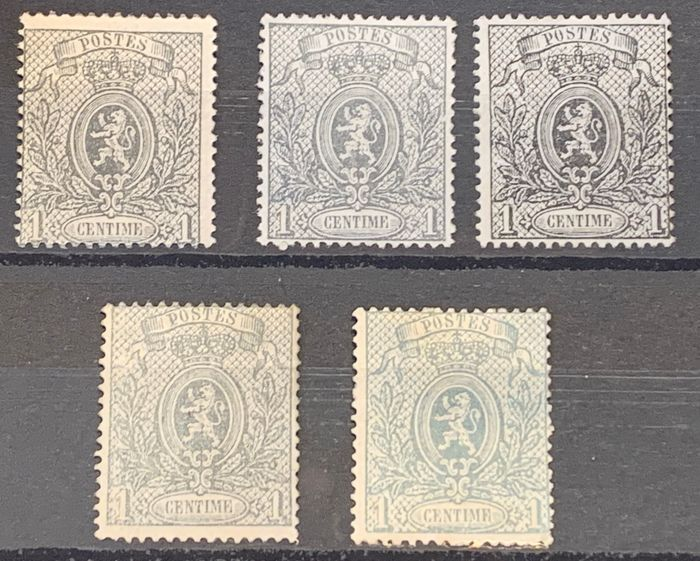 Belgium 1985 - Small lion - 1c perforated - In five different nuances - OBP / COB 23A-23Ad