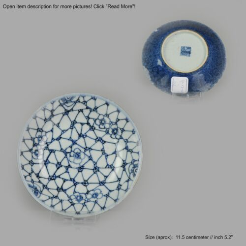 Bord - Porselein - Antique Chinese Blue Crackled Ice Flower- Porcelain  - China - 19e eeuw