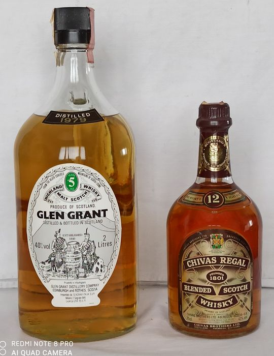 Chivas Regal 12 years old & Glen Grant 1979 5 years old - 75cl & 2L - 2 bottles