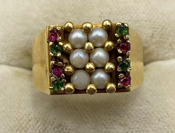 18 kt. Yellow gold - Ring Pearl