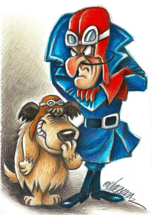 Wacky Races - Dick Dastardly And Muttley - Original drawing by Joan Vizcarra - Original Art