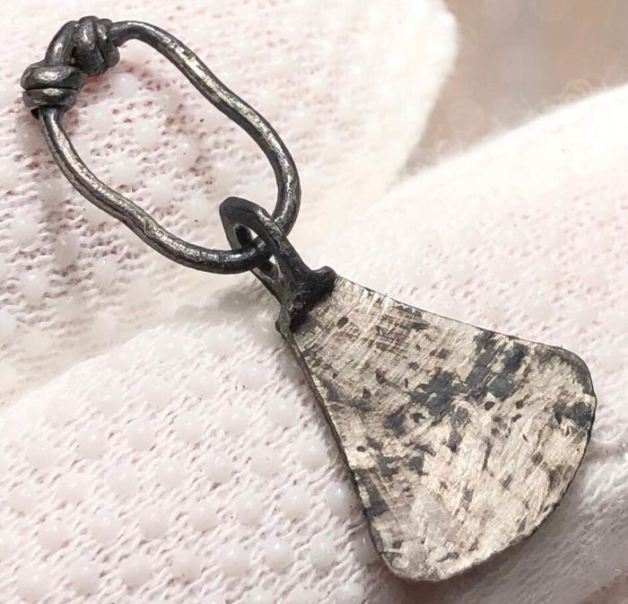 Viking Silver Warrior's Amulet Pendant shaped As a Rare Type Battle Axe with a ''huge'' Blade.