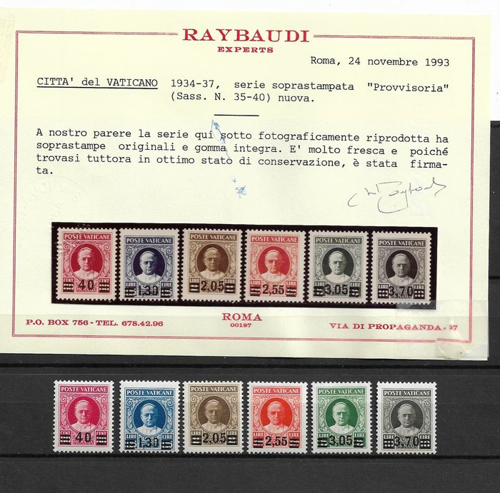 Vatikanstadt 1934 - Provisional set, 6 values - Sassone N. 35/40