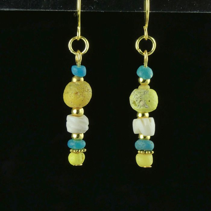 Ancient Roman Glass Earrings with turquoise, yellow glass and shell beads - (1)