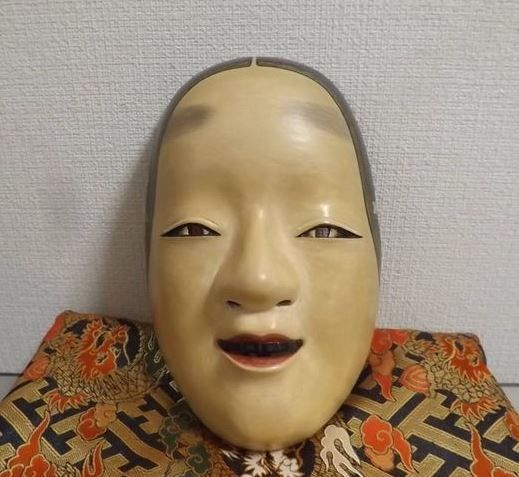 Noh mask - Wood - Hand carved Noh mask of Ko-omote 小面 (Young Woman) - Japan - ca 1940-50s (Early Showa period)