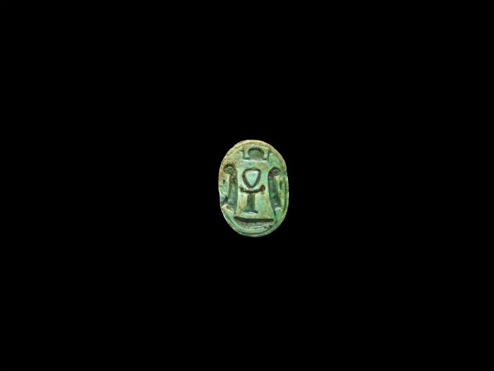 Ancient Egyptian Steatite Scarab with an Ankh
