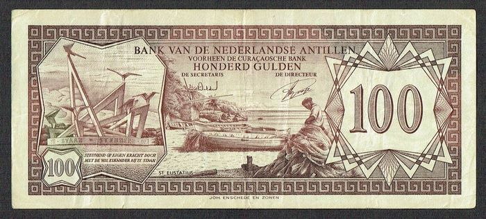 Netherlands Antilles - 100 Gulden 1972 Beach at St. Eustatius - Pick 12b / PLNA 17.5.b2