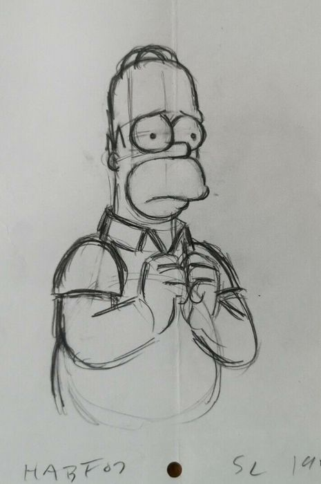 The Simpsons - Matt Groening - Homer Simpson - Includes COA - Dessin original de Cel