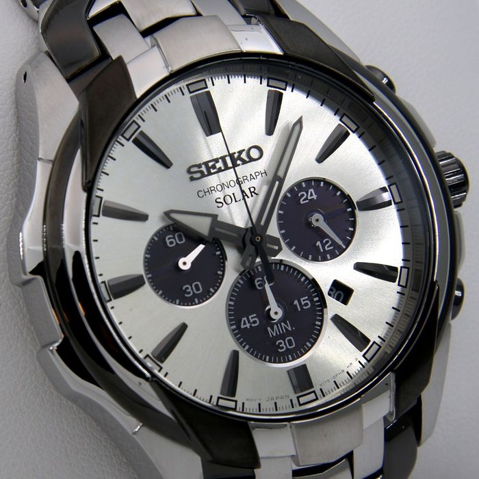"Seiko - Solar Chronograph ""Black Tone - Great Look "" - ""NO RESERVE PRICE""- - Men - 2011-present"