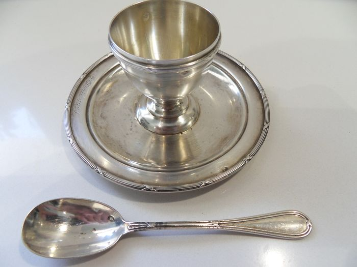 Egg cup, Spoon, Egg cup and spoon (2) - .950 silver - Savary & Fils - France - Late 19th century