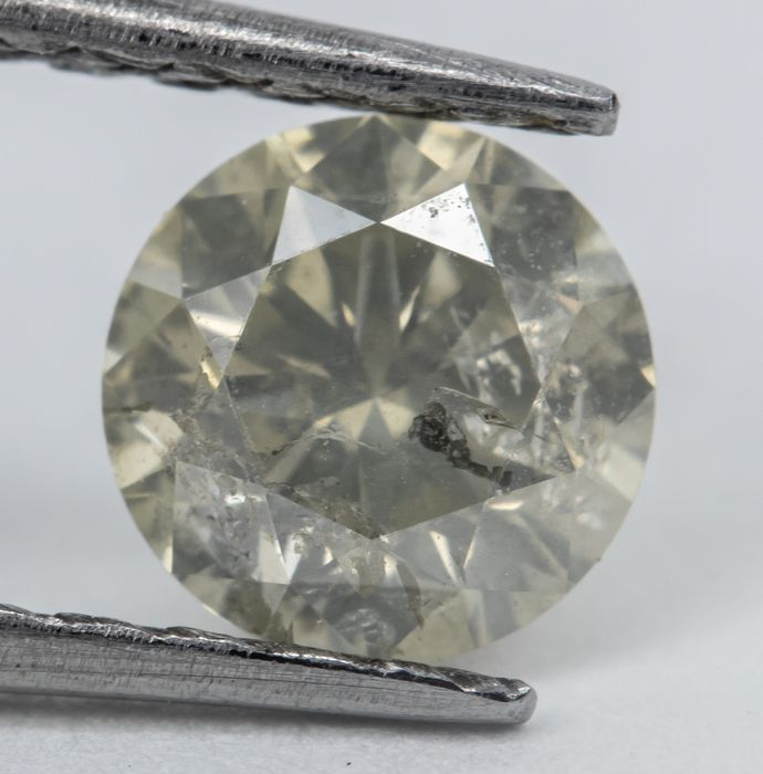 Diamant - 0.63 ct - Rund - Q-R, Very Light Grayish Yellow  - I2  *NO RESERVE*