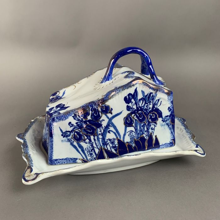 Blue swan - plat de fromage antique - Porcelaine