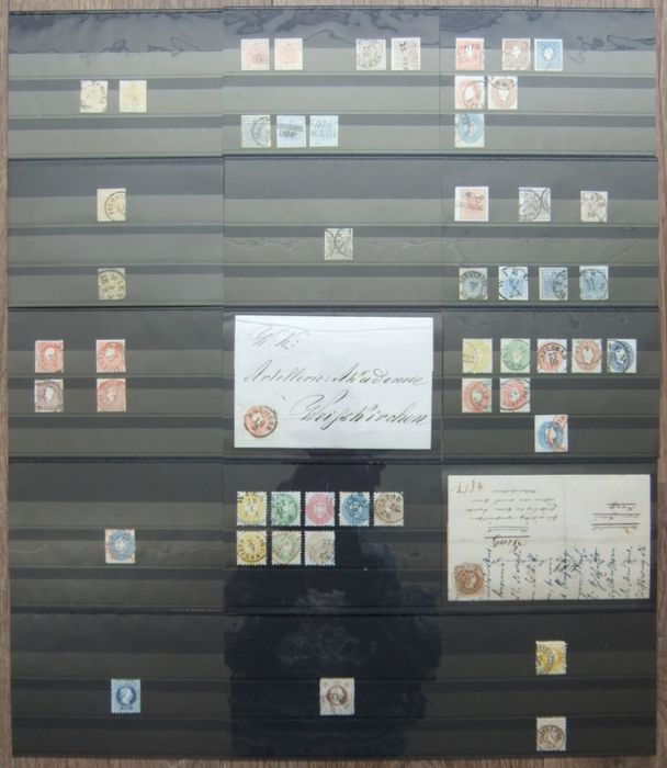 Austria 1850/1890 - Batch of classic on stock cards, including, among other things, coloured cancellations