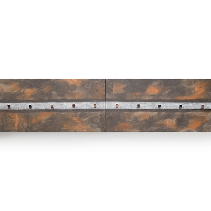 Ksavera - Rusty iron Abstract A255 - industrial textured diptych