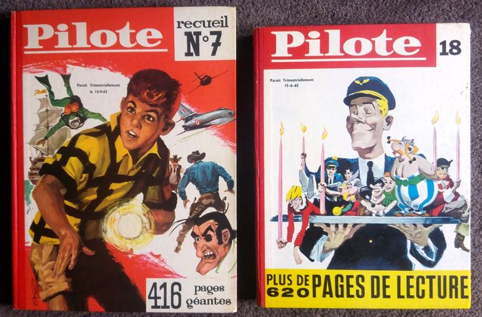 Journal Pilote - Recueil Pilote N° 7, 1961 & N°18, 1964 - Hardcover - First edition - (1961/1964)