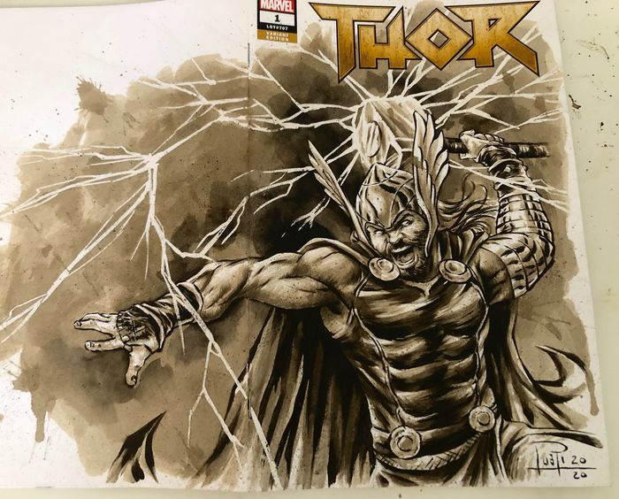 Blank Variant Cover - THOR #1 with original Coffee Painting - Con grapas - Blank Cover (2020)