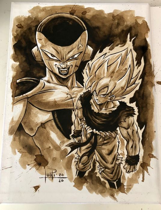 Artbook - THE ART OF JUAPI-COFFEE DRAWINGS with ORIGINAL SKETCH painted with coffee of GOKU & FREEZER (DB) - Tapa dura - Primera edición - (2019/2020)