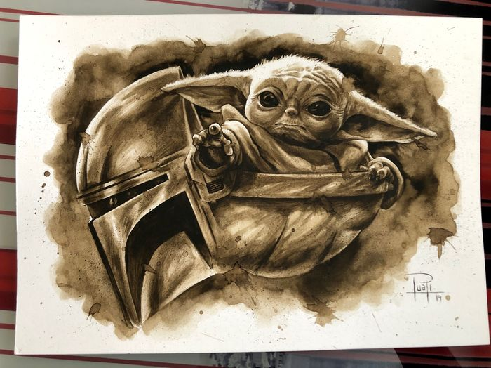 Original Coffee Painting - THE CHILD (Baby Yoda, The Mandalorian) - Original Art (2019)