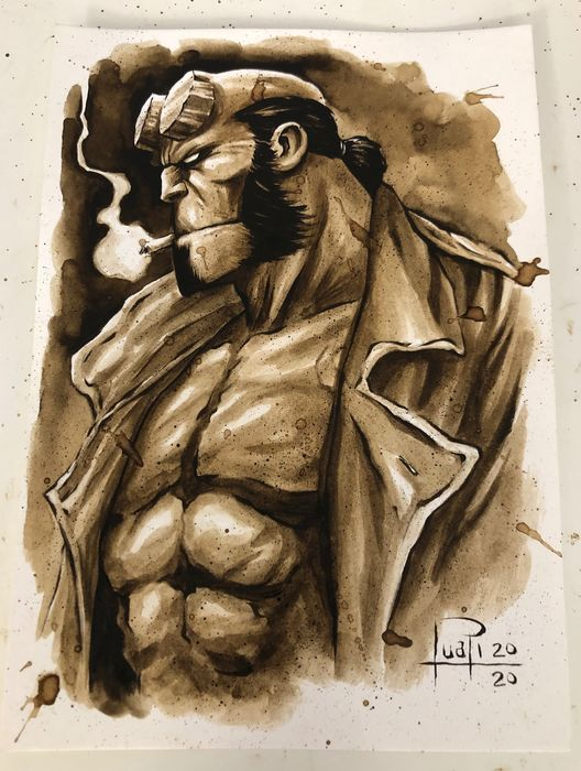 Original Coffee Painting - HELLBOY - Original (2020)