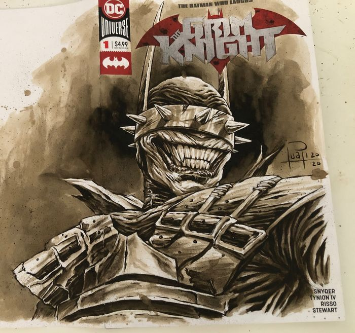 Blank Variant Cover - BATMAN - THE WHO LAUGHS #1 with original Coffee Painting - Con grapas - Blank Cover (2020)